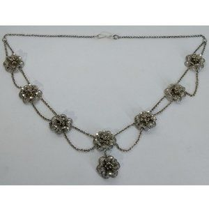 Victorian Silver Floral Festoon Necklace